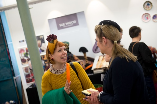 MIlliner Giulia Mio chatting with Sophie Cooke of Imogen's Imagination