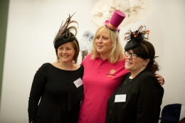 Milliners Jenny Roberts and Marie Halewood with Sara Eltman of Brain Tumour Research