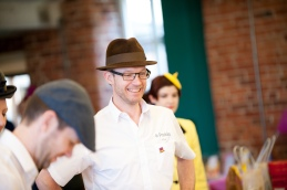 Parkin Fabrics sporting his Wear A Hat Day brooch_Photogrpahy by Gareth Lowe